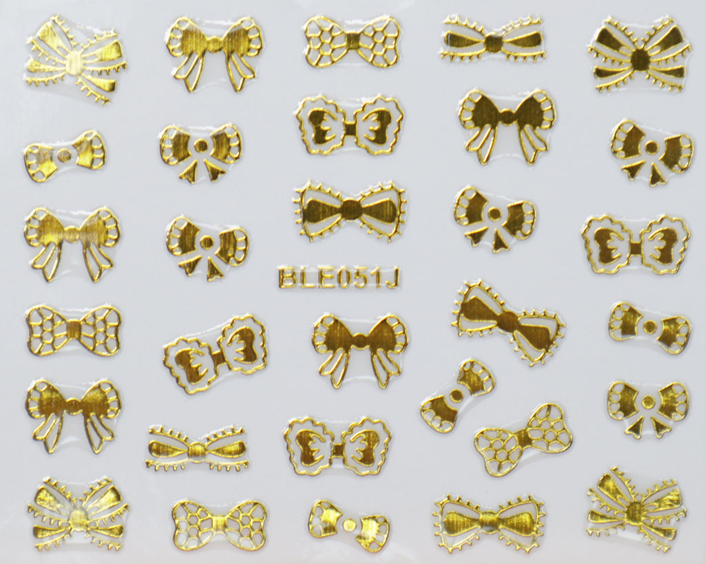 "3D ""Lace Bows"" Metallic Stickers in Gold, Silver, Rose Gold"