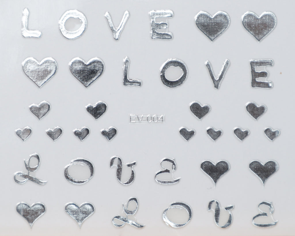 "3D ""Heart, L O V E"" Metallic Letter Stickers in Gold, Silver, Rose Gold"