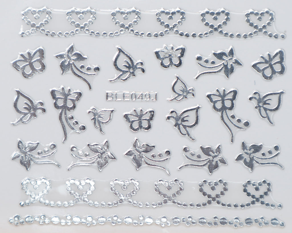 "3D ""Dotted Hearts, Butterflies"" Metallic Stickers in Gold, Silver, Rose Gold"