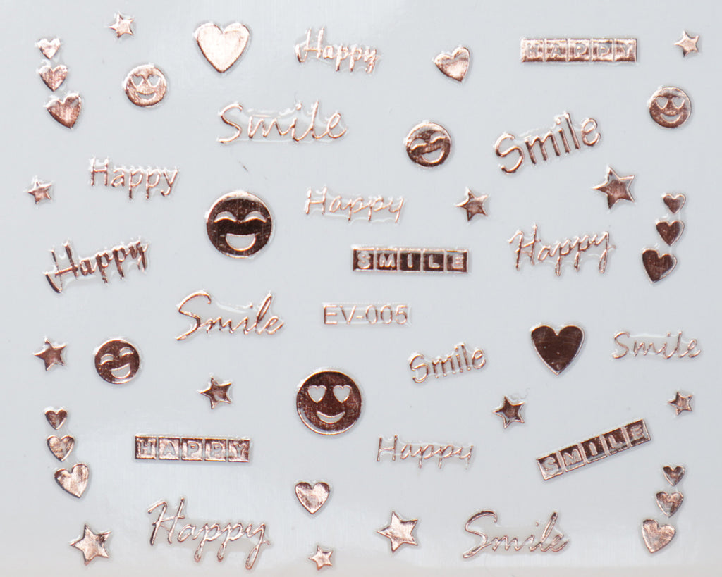 "3D ""Smile, Happy,"" Metallic Letter Stickers in Gold, Silver, Rose Gold"