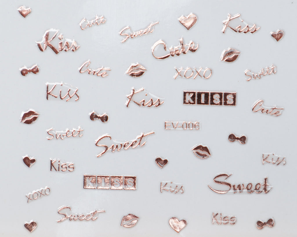 "3D ""Kiss, Sweet, Cute"" Metallic Letter Stickers in Gold, Silver, Rose Gold"