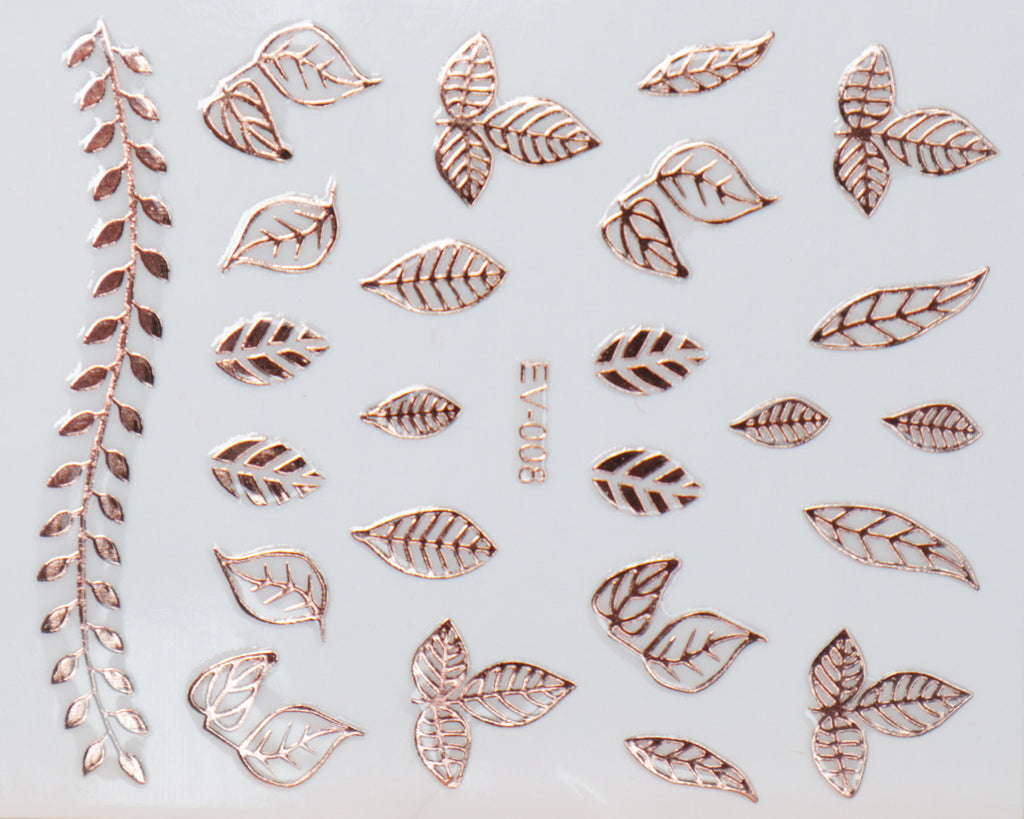 "3D ""Leaves"" Metallic Stickers in Gold, Silver, Rose Gold"