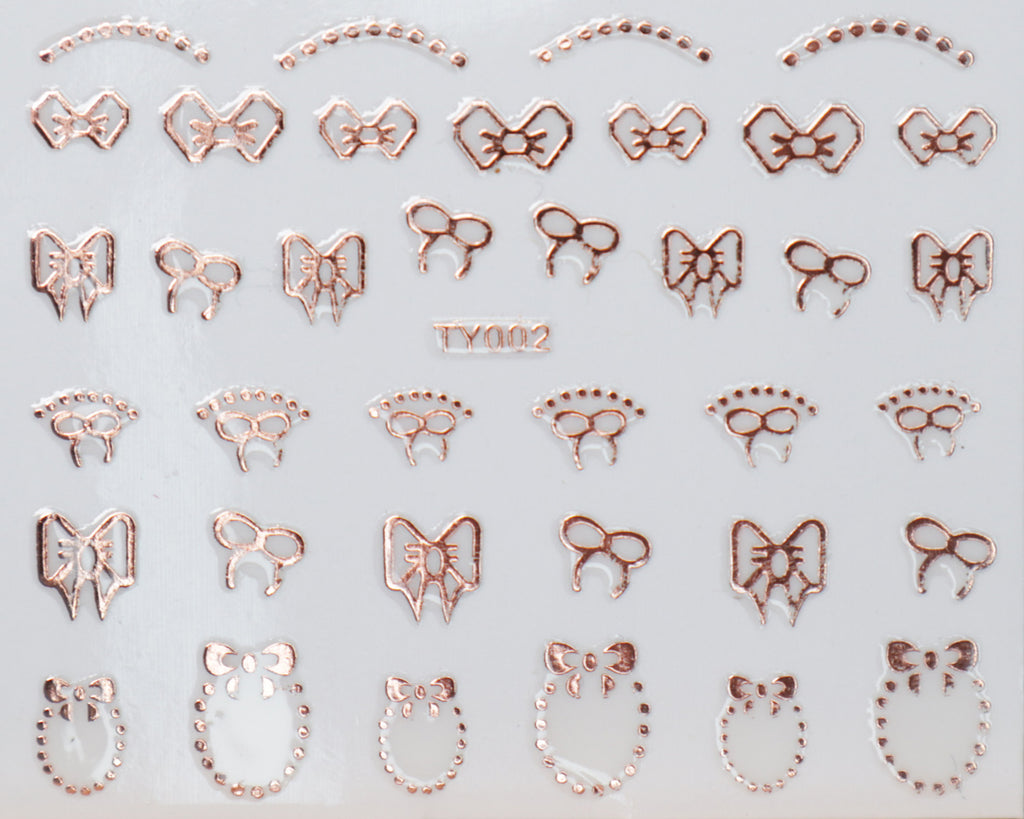 "3D ""Bows, Frames"" Metallic Stickers in Gold, Silver, Rose Gold"