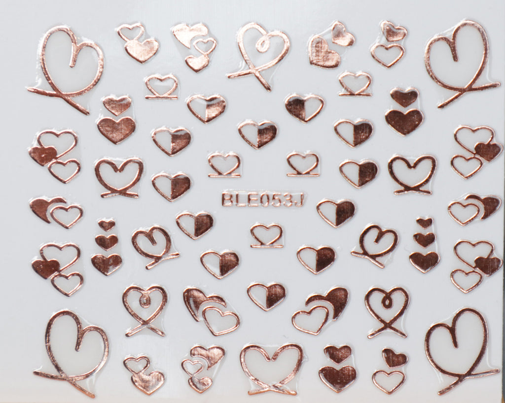 "3D ""Hearts"" Metallic Stickers in Gold, Silver, Rose Gold"