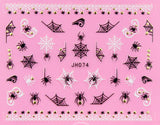 Halloween Black White Spider Webs Gold /  Silver 3D Nail Arts Sticker Decals