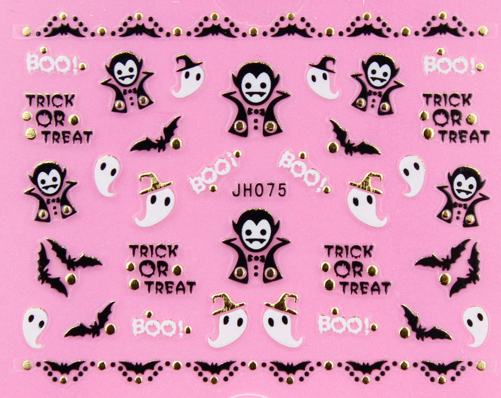 "Halloween ""Vampire, Bat, Ghost"" Gold /  Silver 3D Nail Arts Sticker Decals"