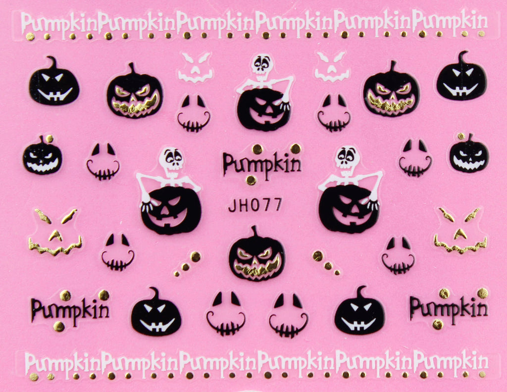 "Halloween ""Evil Pumpkin"" Gold /  Silver 3D Nail Arts Sticker Decals"