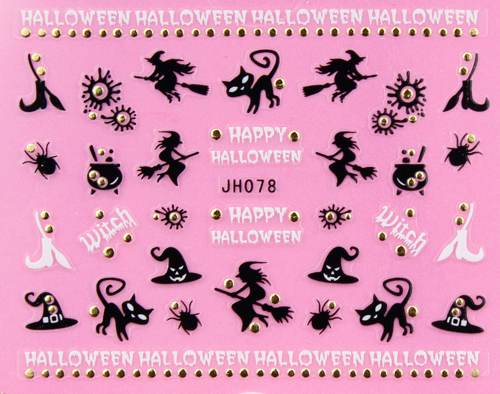 "Halloween ""Witch, Cat"" Gold /  Silver 3D Nail Arts Sticker Decals"