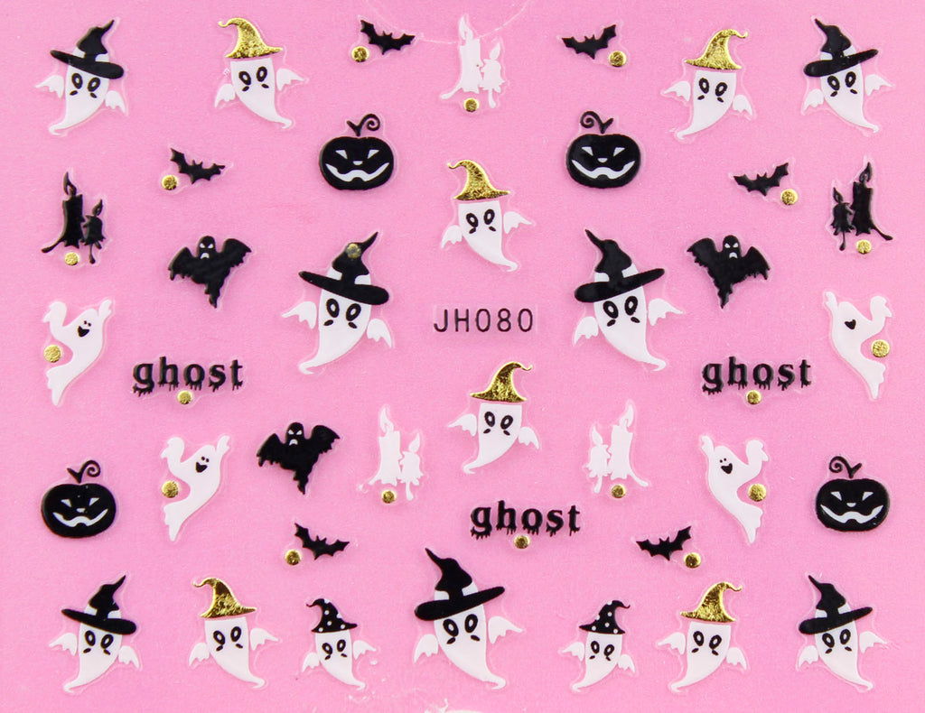 "Halloween ""Ghost with Hat"" Gold /  Silver 3D Nail Arts Sticker Decals"