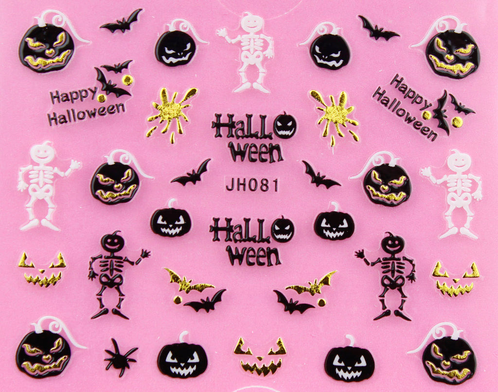 "Halloween ""Skeleton and Pumpkin"" Gold /  Silver 3D Nail Arts Sticker Decals"