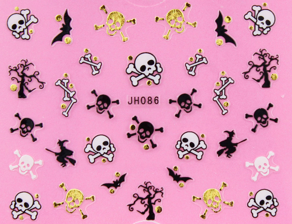"Halloween ""Cross Bone Skull"" Gold /  Silver 3D Nail Arts Sticker Decals"