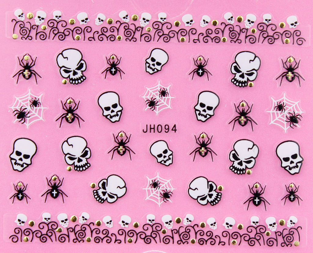 "Halloween ""Spider and Skull"" Gold /  Silver 3D Nail Arts Sticker Decals"
