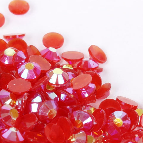 evol coral red iridescent resin rhinestone face gems