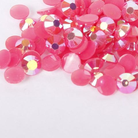 evol bubblegum pink iridescent resin rhinestone face gems