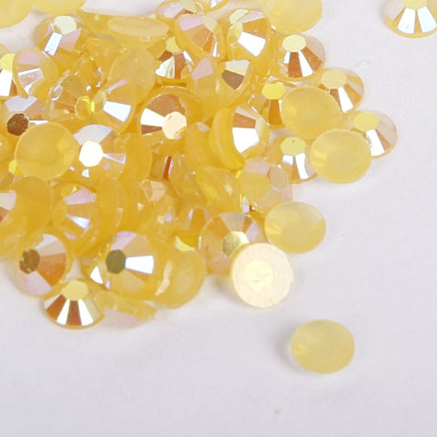 evol sunshine yellow iridescent resin rhinestone face gems