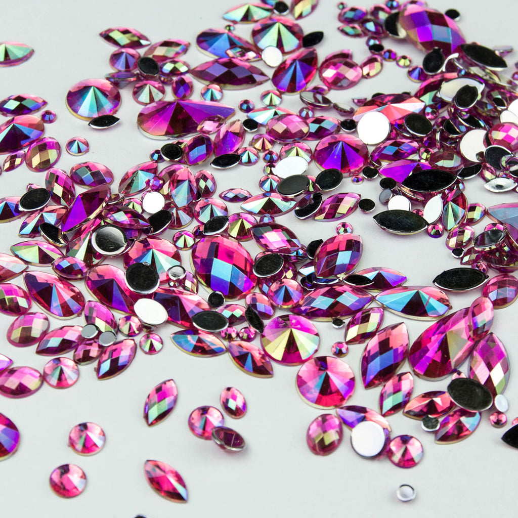 Sparkling iridescent gems in hot pink. Ideal for Glamoween sugar skull creations.