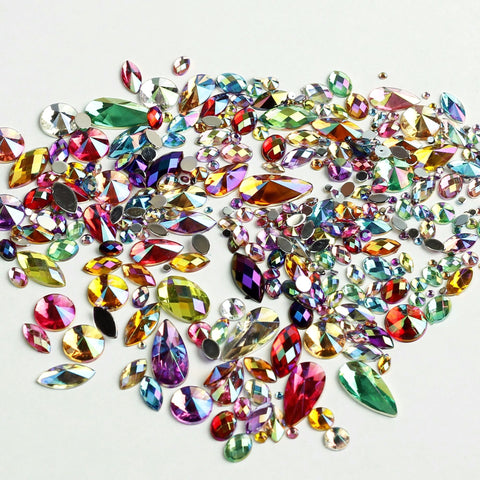 Sparkling iridescent gems in  rainbow mix of colours. Ideal for Glamoween sugar skull creations.