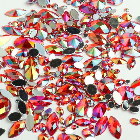 """Ruby"" 15g Bag of Flat Back Face Gems in a Variety of Shapes and Sizes"
