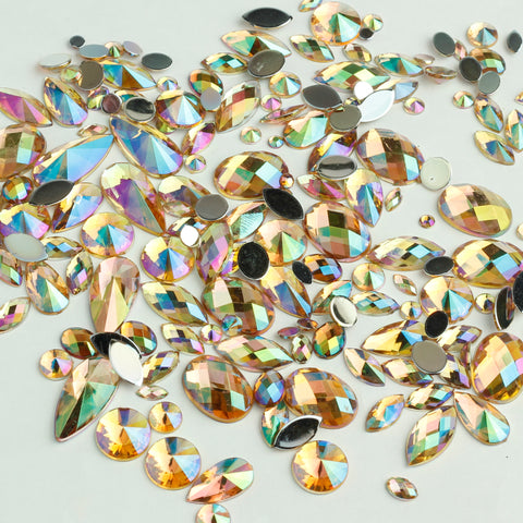 """Prosecco"" 15g Bag of Flat Back Face Gems in a Variety of Shapes and Sizes"