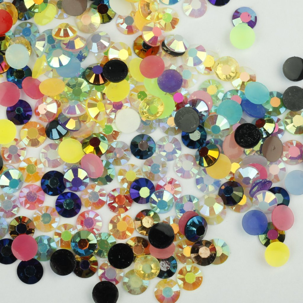 evol mixed colour iridescent rhinestones face gems