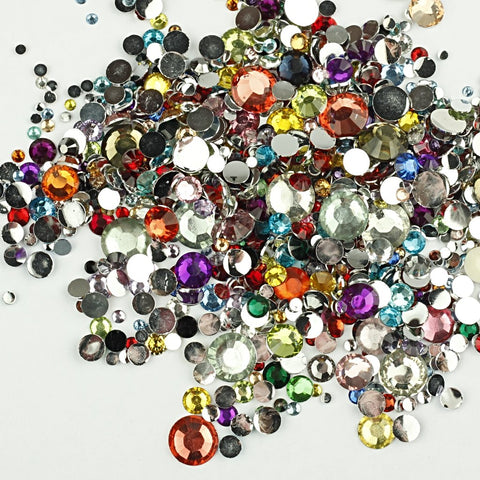 evol mixed size and colour resin rhinestone face gems