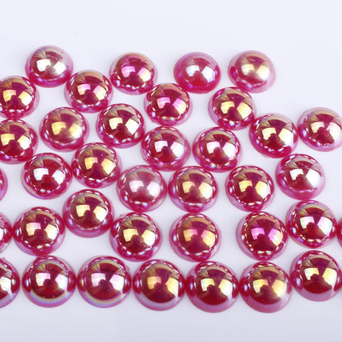 Iridescent Cherry Red Flat Back Pearls