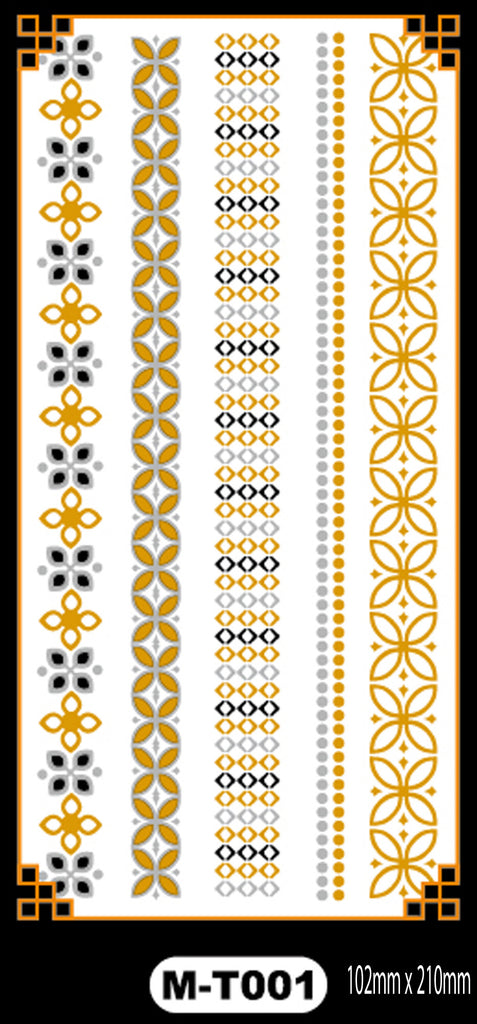 Temporary Tattoos in Metallic Gold and Silver