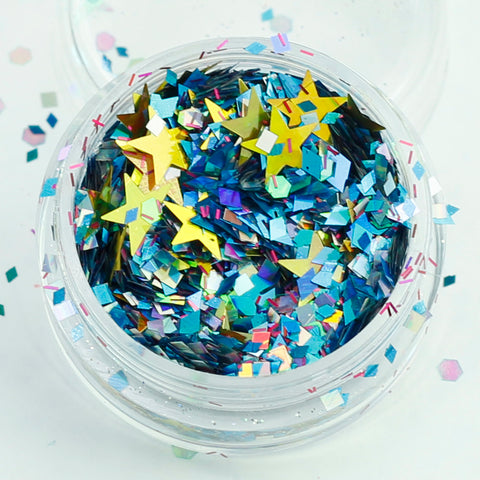 """Starry Night"" Super Chunky Cosmetic Glitter Mix in 5g Pot"