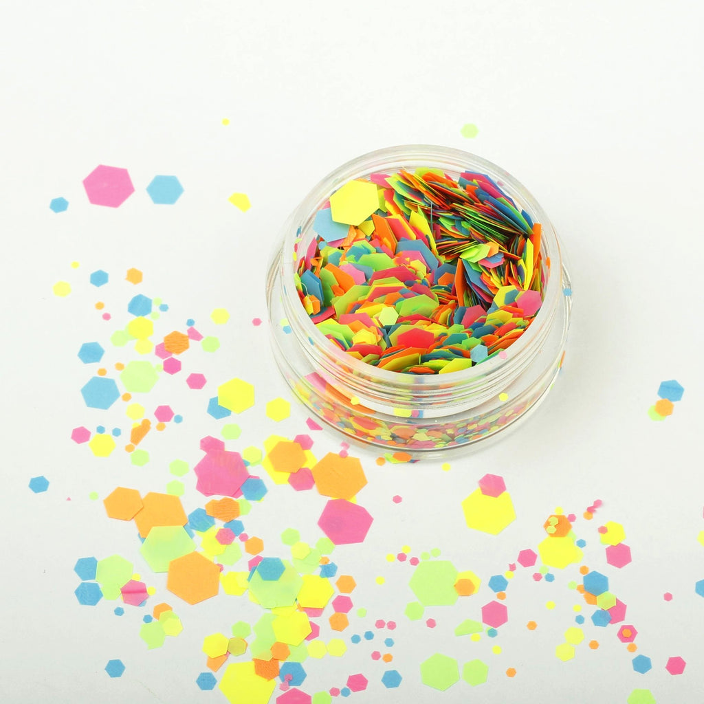UV Fluorescent Pink Blue Yellow Green Orange Glitter Mixes.