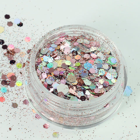 """Rose Quartz"" Super Chunky Cosmetic Glitter Mix in 5g Pot"
