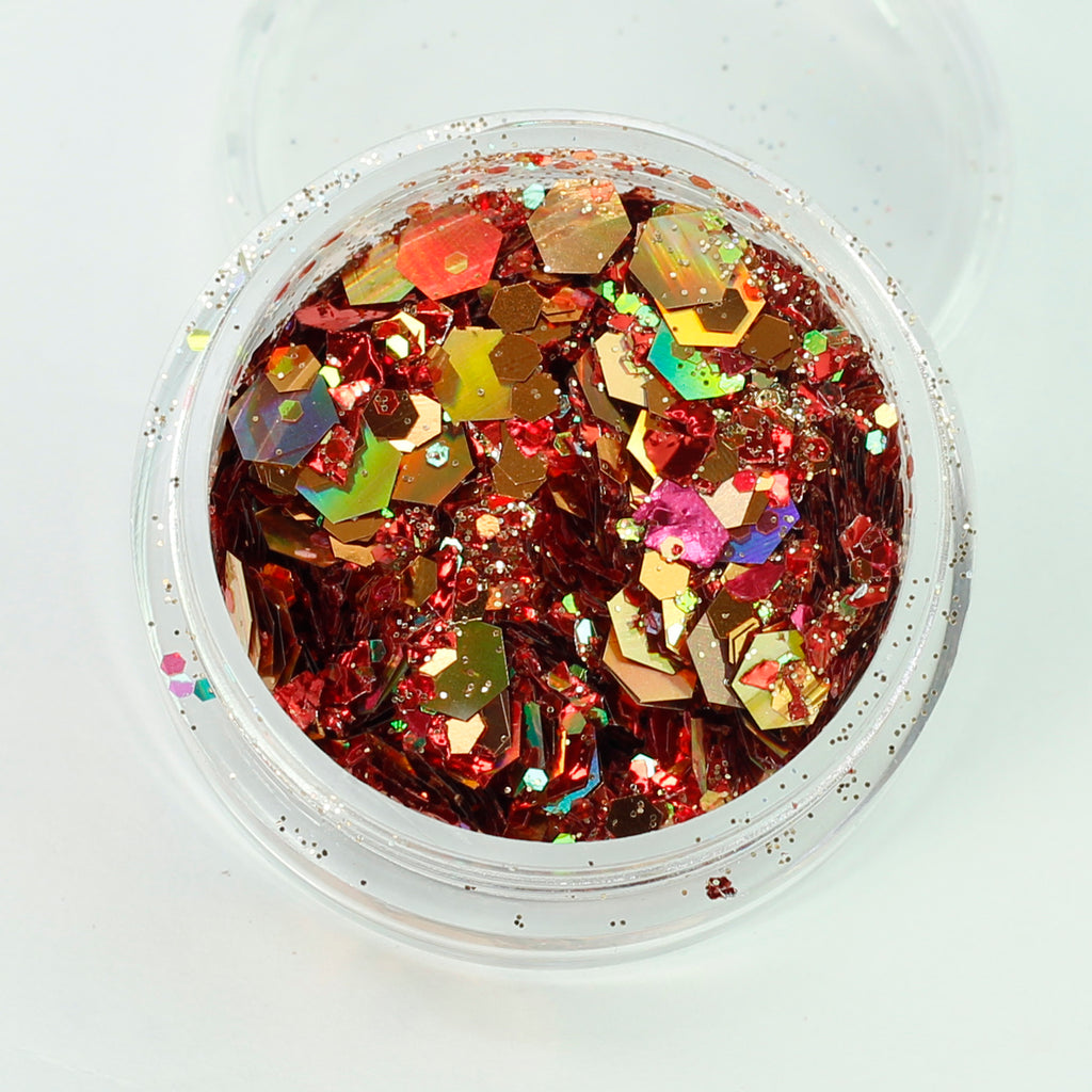 Mixed with Gold Red hexagon and mylar ice glitter mixes.