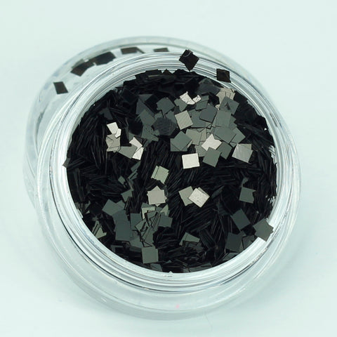 evol black square face glitter