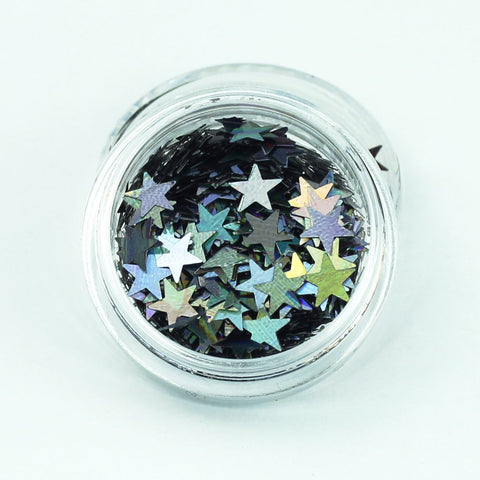 evol holographic smoke grey star shape festival glitter pot