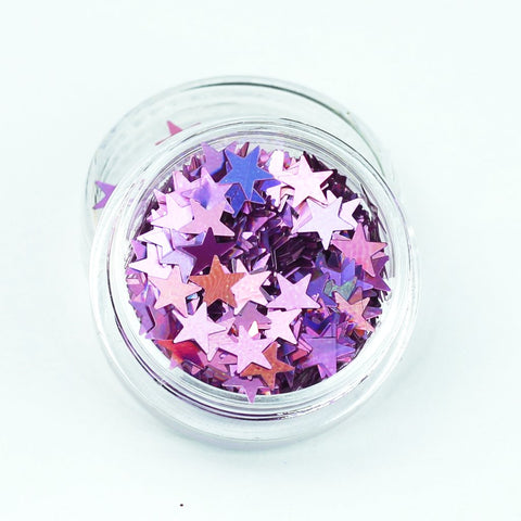 evol holographic pink star festival face glitter pot