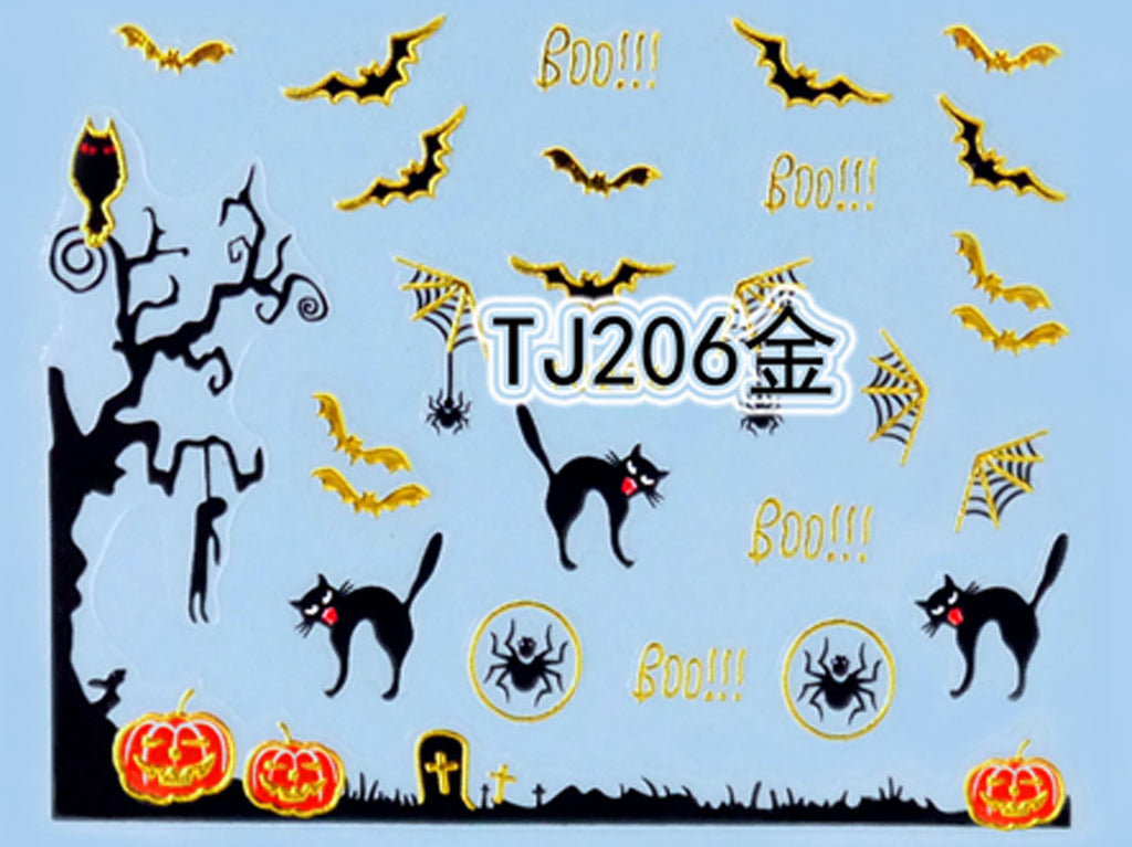 """Boo! Spider & Cat"" Gold /  Silver Colourful Halloween 3D Nail Arts Sticker Decals"