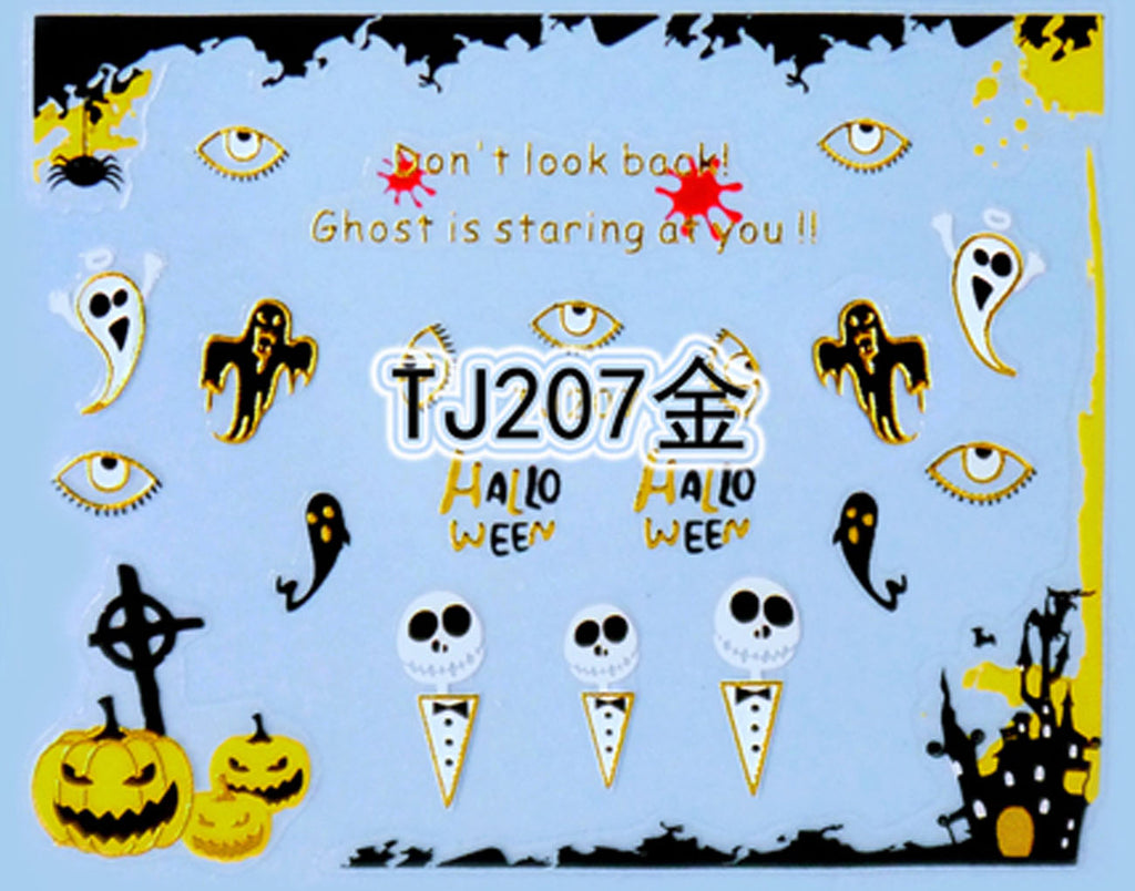 """Eyes and Ghost"" Gold /  Silver Colourful Halloween 3D Nail Arts Sticker Decals"