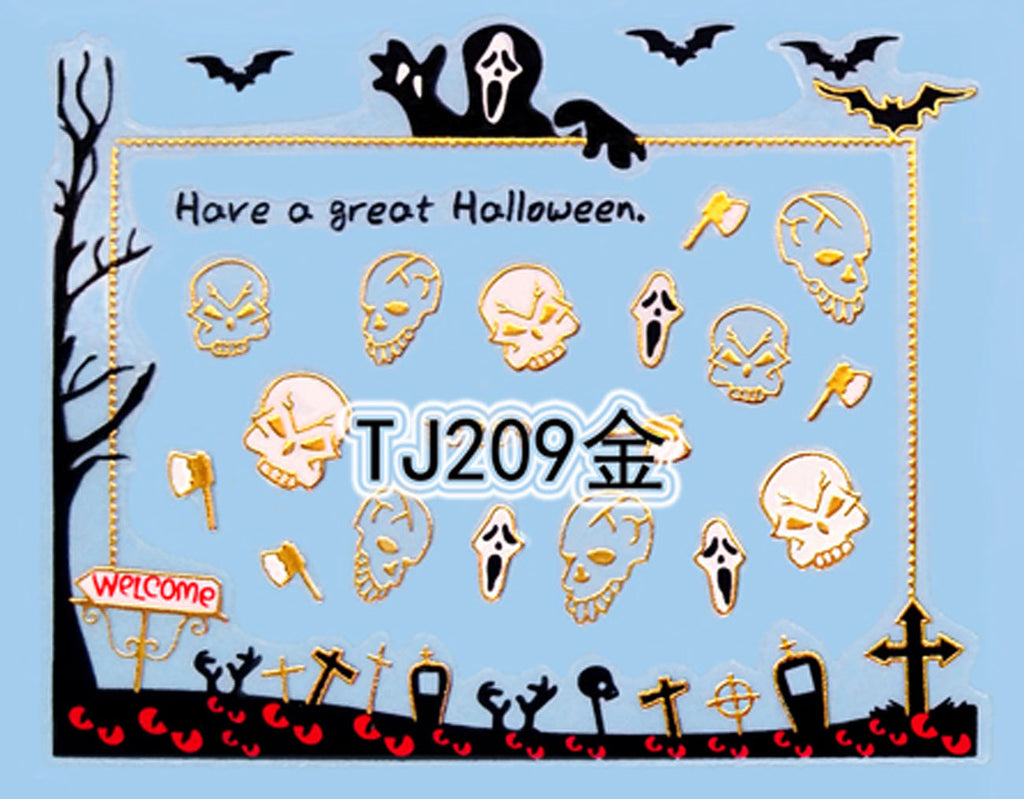 """Skull with Grave"" Gold /  Silver Colourful Halloween 3D Nail Arts Sticker Decals"