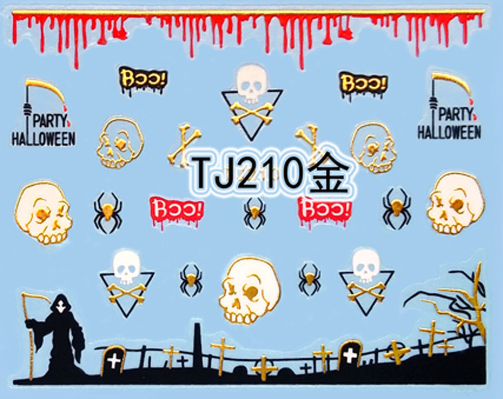 """Skull and Spider"" Gold /  Silver Colourful Halloween 3D Nail Arts Sticker Decals"