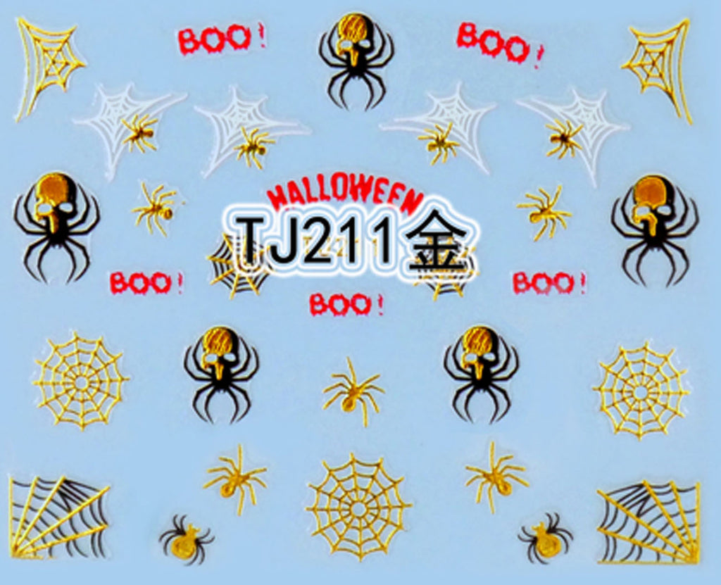 """Spider & Web"" Gold /  Silver Colourful Halloween 3D Nail Arts Sticker Decals"