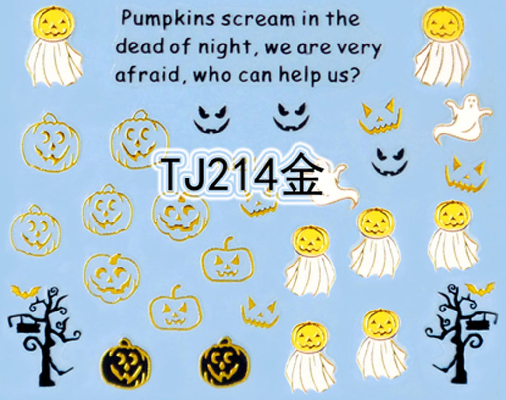 """Pumpkin Ghost"" Gold /  Silver Colourful Halloween 3D Nail Arts Sticker Decals"