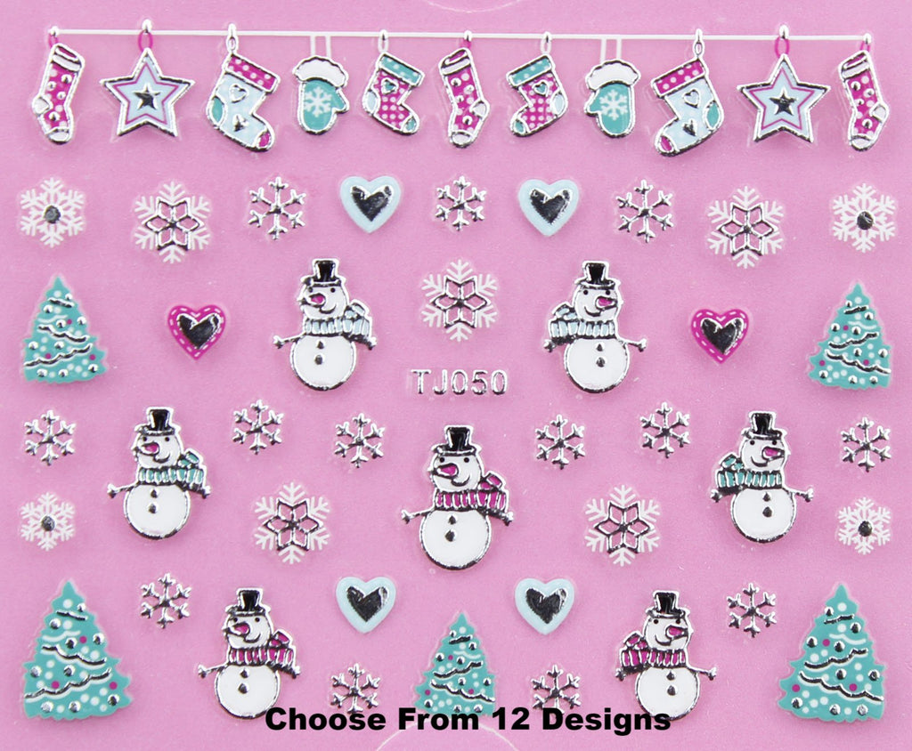 Christmas SILVER White Snowflake Tree Bauble Candy Gift  3D Nail Art Sticker