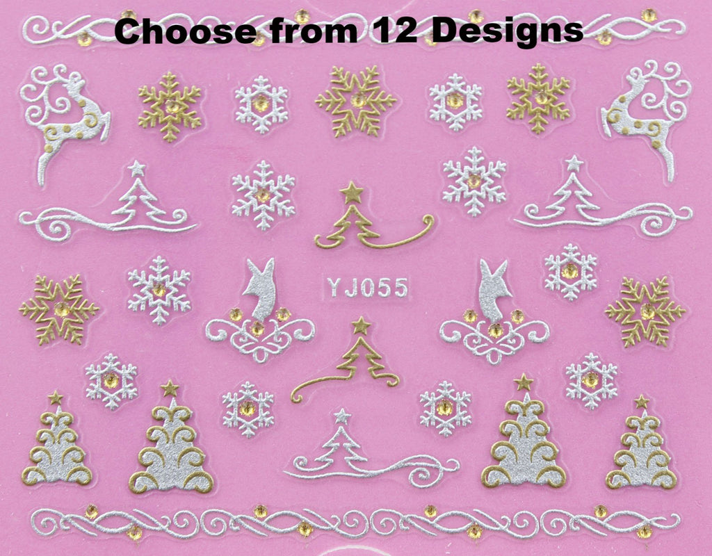 12 different Christmas Satin SILVER & GOLD  Rhinestone 3D Nail Art Stickers