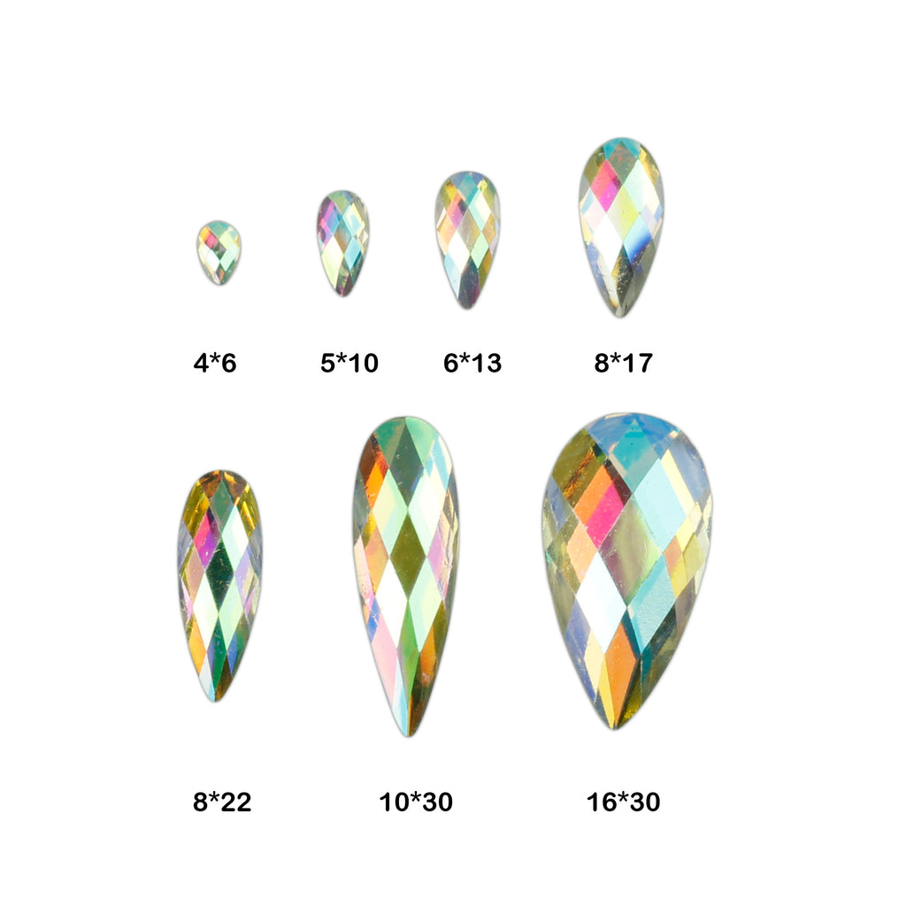 evol glitz iridescent resin tear drop face gems