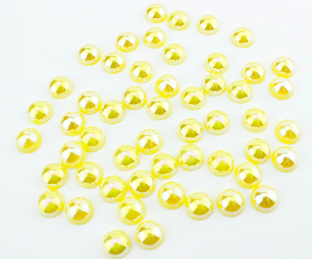 Iridescent Yellow Lemon Flat Back Pearls
