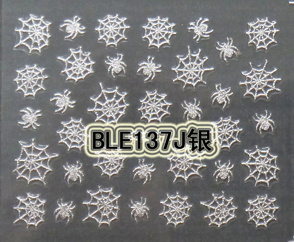 Halloween Silver Spiders Webs 3D Nail Art Stickers Decals