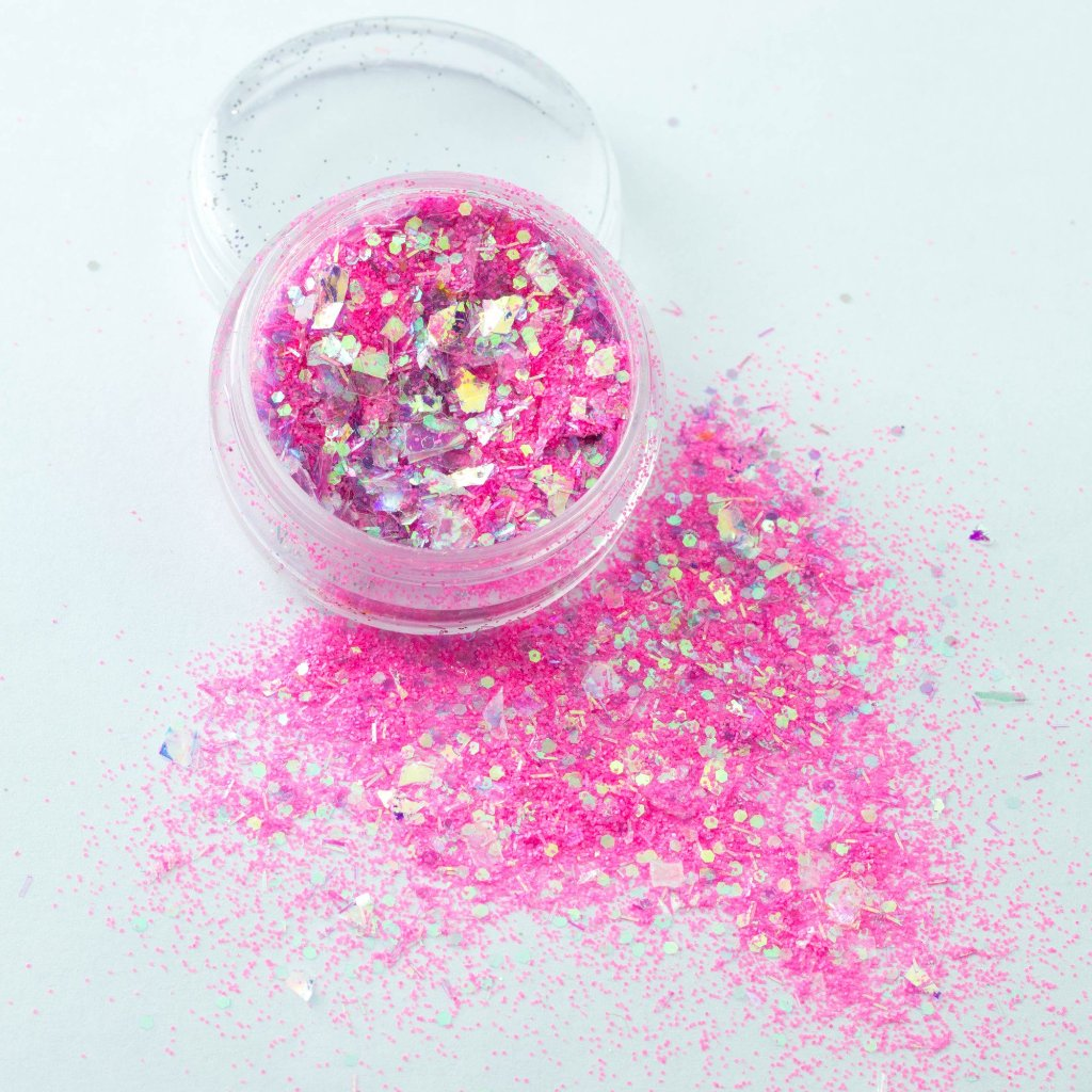 evol california girl blazing iridescent pink chunky body glitter mix