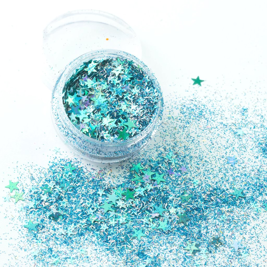 evol a kind of blue iridescent blue chunky festival glitter mix