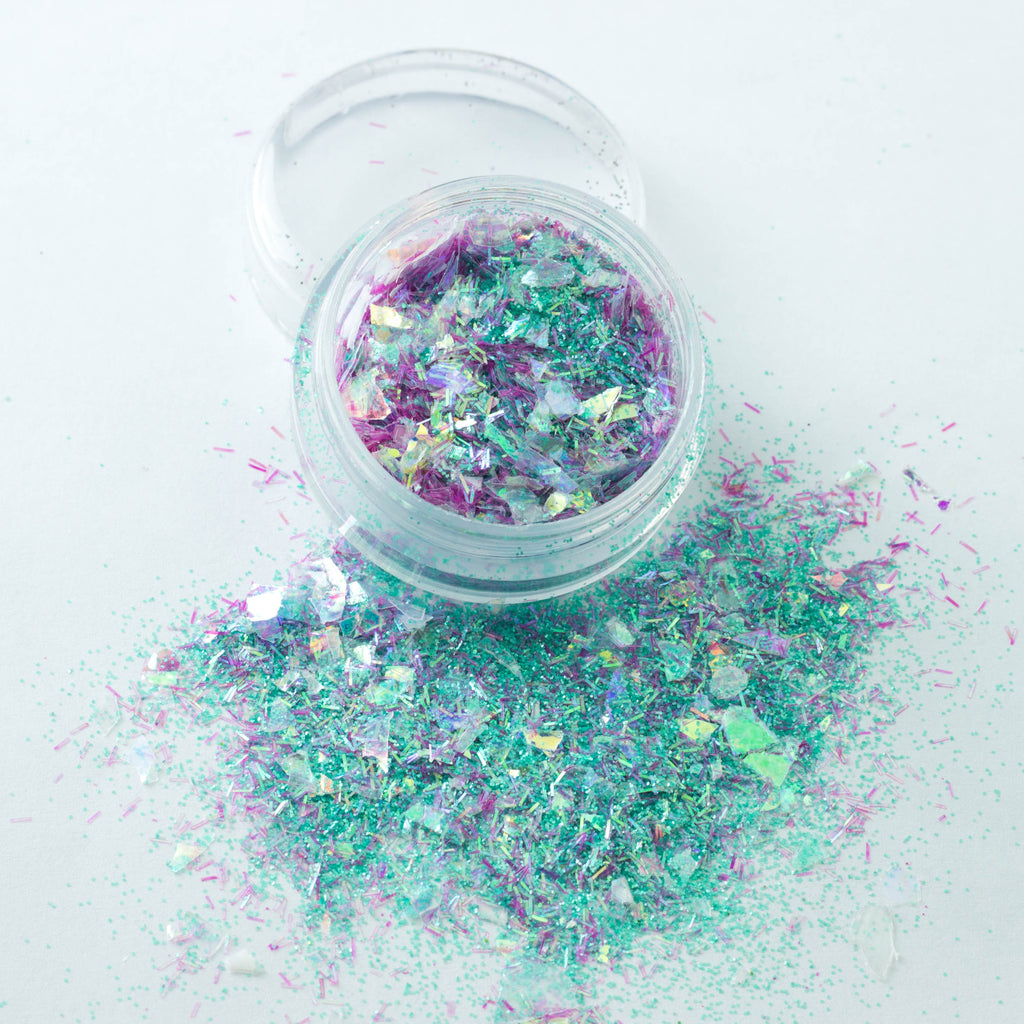 evol mermaid tears chunky festival glitter mix in green and hot pink