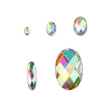 AB Iridescent Oval Flat Back Face Body Jewel Gems