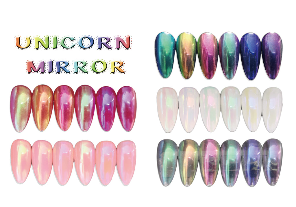 Super Shiny Aurora Rainbow Unicorn Mirror Duo Chrome Powder